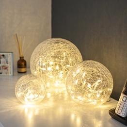 3er Set LED Glaskugeln warmweiß batteriebetrieben -