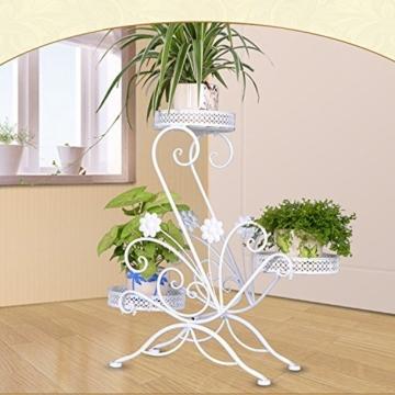AISHN Blumenstander fur 3 Blumentopfe, 3 Etagen, geschwungenes, dekoratives Design, Metall, Garten/Terrasse -