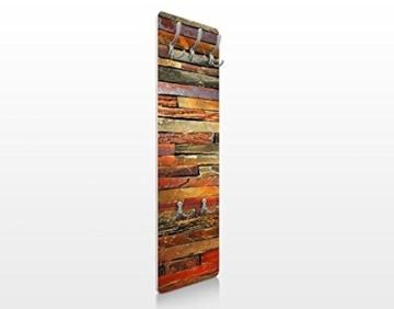 Apalis 67525 Wandgarderobe Bretterstapel Holz Vintage Brett Flur Haken Edelstahl Garderobe Holzbild Wandpaneel | 139x46cm -