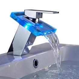 Auralum® Elegant LED RGB Glass Wasserhahn Armatur Chrom Wasserfall Waschtisch Waschtischarmatur für Bad Badezimmer Küchen 3 Farben -