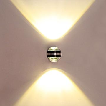 Baytter 2W 6W LED Kugel Wandlampe Wandleuchte Flurlampe Strahler Aluminium warmweiß (6 Watt) -