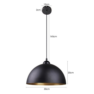 BAYTTER® Design 2x Industrielle Vintage LED Pendelleuchte Hängeleuchte Φ 30cm für E27 Leuchtmittel, schwarz und weiß wählbar, für Wohnzimmer Esszimmer Restaurant Keller Untergeschoss usw. (schwarz) -