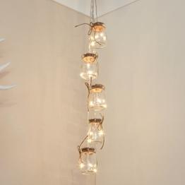 Beleuchtete Deko Einmach-Gläser gefüllt mit Silberdraht Lichtern, batteriebetrieben, 15 LEDs in warmweiß, 68cm, von Festive Lights -