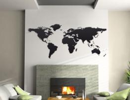Bilderdepot24 Wandtattoo Wandaufkleber - Weltkarte 144x59cm - Qualitätsware direkt vom Hersteller -