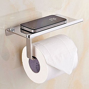 btsky Stilvolle Wand montiert Korrosionsschutz Edelstahl Badezimmer Tissue Halter/WC Papier Halter Tissue Rolle Bar mit Mobiltelefonen Halterung Ständer Regal Badezimmer Zubehör -