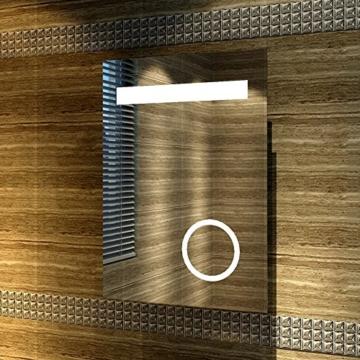 Design LED Badezimmerspiegel Badspiegel Lichtspiegel mit Schminkspiegel mit Beleuchtung IP44 [Energieklasse A+] 50 x 70cm -