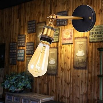 Dexors E27 Retro Wandleuchte Industrielampe (85-265V) Einstellbarer Messing-Kopf Industrie Design für Café Gallerie Schlafzimmer Wohnzimmer usw (Lichtmittel nicht inklusive) -