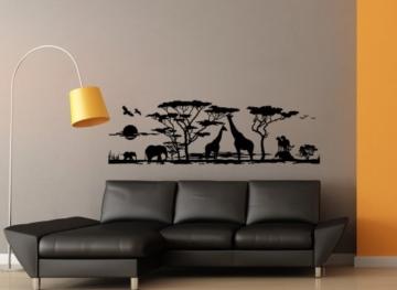 Grandora w683 wandtattoo afrika savanne tiere wohnzimmer - Wandtattoo afrika tiere ...