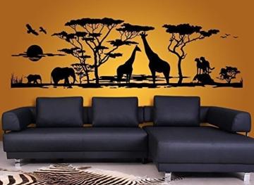 Grandora W683 Wandtattoo Afrika Savanne Tiere Wohnzimmer Schlafzimmer schwarz 190 x 58 cm -