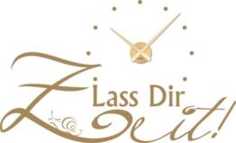 Graz Design 800159_GD_081_de Wandtattoo Uhr Wanduhr modern Spruch Lass Dir Zeit mit Schnecke Deko für Wohnzimmer (Farbe=081 hellbraun / Uhrwerk=Gold) -