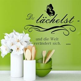 greenluup® Wandtattoo Sprüche Buddha Glück Motivation in Schwarz mit Schmetterling Wohnzimmer, Küche, Schlafzimmer, Büro, Praxis, Laden -