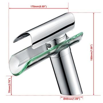 Homelody Wasserhahn mit Glasauslauf Wasserfall Armatur Bad Mischbatterie Badarmatur Waschticharmaturfür Badezimmer -