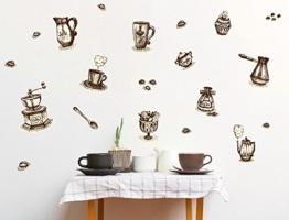 "I-love-Wandtattoo WAS-10254 Küche Wandsticker Set ""Kaffeetassen und Kaffeebesteck"" zum Kleben Wandtattoo Wandaufkleber Sticker Wanddeko -"