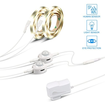 IWILCS Bett Licht, 2*120CM 12V DC LED-Streifen Licht, Automatisch Ein/Aus Bewegungs Aktiviert LED Lichtleiste, Nachtlicht Bewegungsmelder, Wasserdicht Led Licht Kit (Warmweiß, 2 Sensoren) -