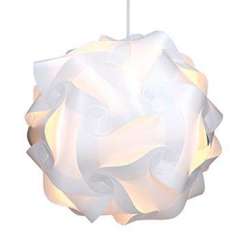 kwmobile Puzzle Lampe DIY weiße XL Leuchte im Set mit Deckenbefestigung, inkl. 90 cm Kabel & E27 Fassung -