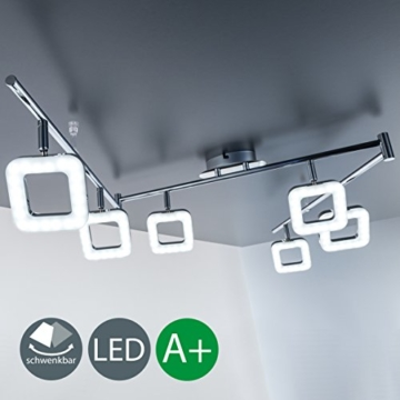 LED Deckenleuchte Deckenlampe Deckenleuchte Leuchte Deckenlampe LED Platine Deckenleuchte-Wohnzimmer-LED Deckenlampe-Wohnzimmer-LED Deckenstrahler-LED Wohnzimmer-Lampe Wohnzimmer-Leuchte Wohnzimmer Flur 6-flammig chrom -