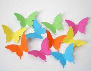 Luxbon 40 Stück 3D Schmetterlinge Wandtattoo Wanddekoration mit Klebepunkten zur Fixierung Weiß -
