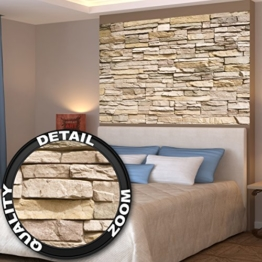 Poster Noble Stone Wall Wandbild Dekoration moderne Wandverkleidung Steinoptik Schiefergestein Mauer Sandstein Naturstein | Wandposter Fotoposter Wanddeko Wandgestaltung by GREAT ART (140 x 100 cm) -