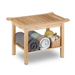 Relaxdays Badezimmer Bank Bambus, Sitzbank Bad, Ablage Badhocker Holz, HxBxT: 45 x 66 x 40 cm, Badezimmermöbel, natur -