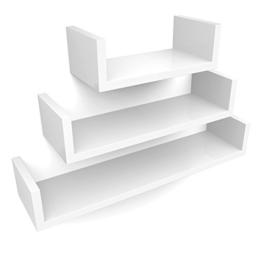 Songmics LWS66W 3er Set Wandregal, MDF Holz, Belastbarkeit 15 kg, Tiefe 15 cm, 60/45/30 cm, weiß U-Form Wandboard -