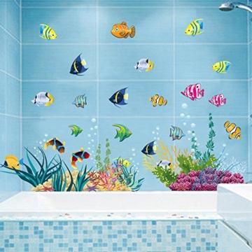 Stickerkoenig Wandtattoo Wandaufkleber Fische Meerestiere Ozean Unterwasserwelt 2D Sticker auch als Fliesenaufkleber im Badezimmer auf 2 XXL Bögen #2011 -