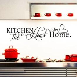 """ufengke® """"The Kitchen is the Heart of the Home"""" Wandtattoo Spruch Zitat, Wandaufkleber Wandbilder für Küche und Esszimmer -"""