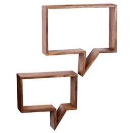 WOHNLING 2er Set Wandregale Massiv-Holz Sheesham Holz-Regal Landhaus-Stil Höngeregal Echt-Holz Design Wand-Board Natur-Produkt Wandkonsole dunkel-braun unbehandelt Regale zum Aufhöngen Unikat Ablage -