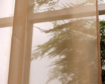 WOLTU VH5512gd Querbehang Voile transparent Übergardinen Gardine Vorhang Stores Raumteiler Fensterschal Dekoschal Voile 140x600 cm Gold -