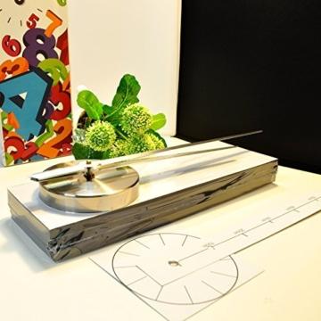 XXL 3D Silberne Riesen Designer Wanduhr Wohnzimmer Dekoration Wandtatoo mit deutschem Ziffernblatt aus Acryl -