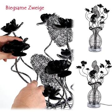 Yorbay LED Tischleuchte Tischdeko blumig Alu-Korbgeflecht Blumen jumbo LED Tischlampe Dekolampe mit 5 Stk. G4 Leuchtmittel für Wohnung Dekoration Nachttischlampe (Weiß(5700K-6000K)) -