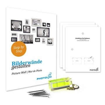 15er Bilderrahmen-Collage Photolini Basic Collection Modern Schwarz aus MDF inklusive Zubehör / Foto-Collage / Bildergalerie / Bilderrahmen-Set -
