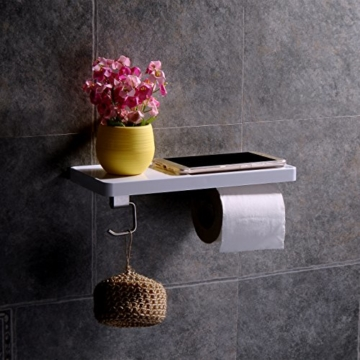 Aothpher Toilettenpapierhalter im Badezimmer wandmontiert Edelstahl Rollen Toilettenpapier Regal Mit Quadratischer Haken -