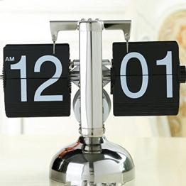Asvert Flip Uhr Wecker Schreibtisch Regal Design flip Uhr Shelf Auto Flip Retro Digital Interne Getriebe Operiert Tisch Uhren Edelstahl Standuhr(Schwarz) -