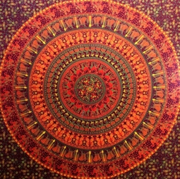 Camel Elephant Mandala Tapestry Hippie Tapestry Mandala Tapestry Wall Hanging Wall Decor Home Decor (Maroon) -