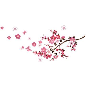 Chinatera Kirschblüte Wasserdicht Wandaufkleber Hintergrund für Schlafzimmer -