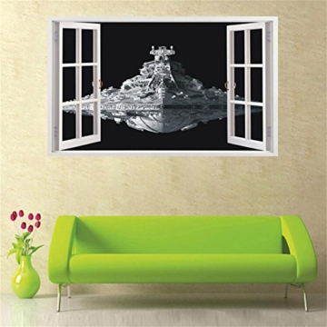 Her Zii Extra Large 3d spacecraft wall stickers home decor living room space diy mural art decals removable wall sticker by HerZii -