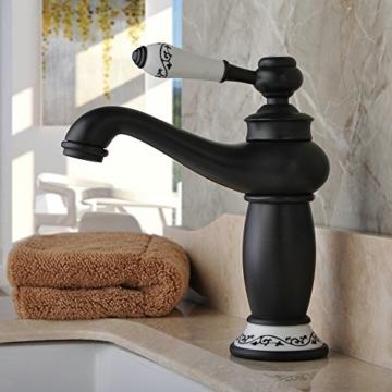 Hiendure® Messing Waschtischarmaturen Badezimmer Küche weiße Keramik-Material Griff, Öl eingerieben Bronze -