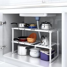 HOMFA Küchen Unterschrankregal flexibel Spülschrankregal Badregal Küchenregal variabel Steckregal für den Spülbeckenunterschrank -