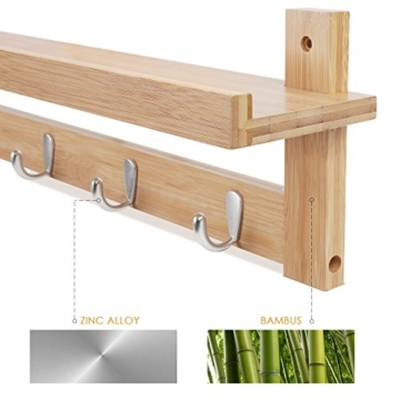 HOMFA Landhaus Wandregal Wandboard Regal Flurgarderobe Hängeregal Wandschrank Dekoregal Schlüsselhaken mit 5 Haken und Ablage, 12cm tief, Bambus -