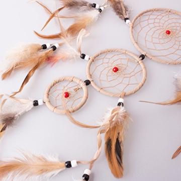 HooYL Handgefertigter Indianscher Traumfänger / Dreamcatcher aus Holz und Federn in Khaki & Weiß (Khaki 1) -