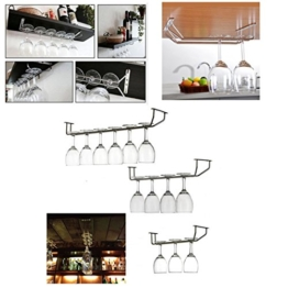 KING DO WAY Glas halter verchromte wein sektglas cup kueche bar rack inhaber buegel Glaeserschiene Glaeser regal Silber 28cm -