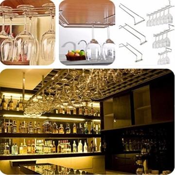 KING DO WAY Glas halter verchromte wein sektglas cup kueche bar rack inhaber buegel Glaeserschiene Glaeser regal Silber 28cm -