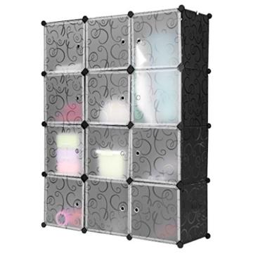 LANGRIA Stufenregal 12-Kubus Regalsystem Kleiderschrank Garderobenschrank für Kleidung, Schuhe, Spielzeug und Bücher -