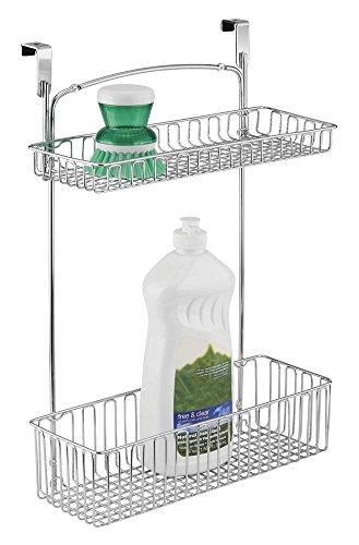 mDesign Aufbewahrungskorb für Küchen- und Badutensilien – praktischer Regalkorb aus Stahl in Chromoptik – einfach zu montierender Schrankkorb zum Einhängen mit zwei Ebenen -