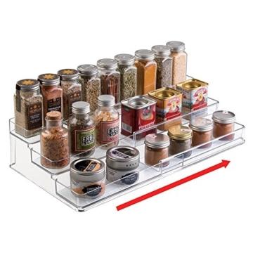 mDesign Gewürzregal für Küchenschrank – ausziehbare Aufbewahrungsmöglichkeit für Ordnung in der Küche – 3 Ebenen, durchsichtig -