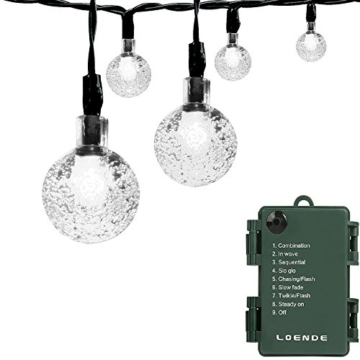 Outdoor Wedding & Valentine's Day Fancy String Lights with Timer Battery, Loende Battery Operated Powered 8Mode 30 LED Balls 6.4M / 21ft Warm White Waterproof Decorative Fairy Globe Light for Indoor Party, Wedding, Decoration, Patio, (white) -