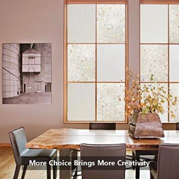 Rabbitgoo 3D hochwertige Premium No-Kleber Wiederverwendbare Statische erhellende Dekorative Privatleben Frost Glas-Fenster-Film-Aufkleber Anti-UV-44.5cm x 200cm Blumen-Entwurf | Upgrade-Version für Heim Kueche Buero -