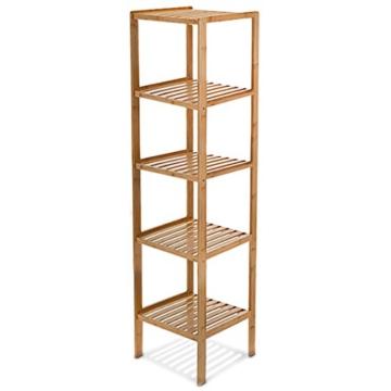 Relaxdays Badregal Bambus HBT: 140 x 34 x 34 cm Schickes Bambusregal mit 5 Ablagen aus natürlichem Holz Standregal als Küchenregal oder Holzregal zur Aufbewahrung und Lagerung im Badezimmer, natur -
