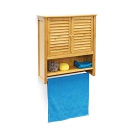 Relaxdays Hängeschrank LAMELL Bambus H x Bx T: 66 x 60 x 20 cm Badschrank zum Hängen mit Handtuchhalter Badezimmerschrank mit 2 Türen und Regalfach Bad Schrank als Oberschrank Badhängeschrank, natur -