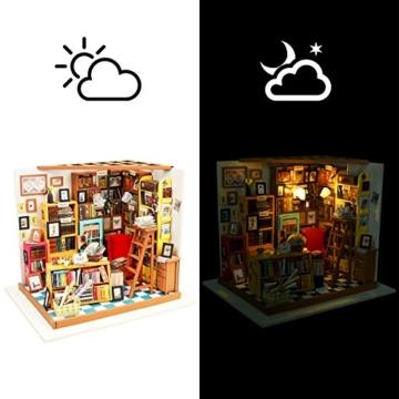 robotime bibliothek holz puppenhaus bausatz zum selbermachen b cher haus holzbausatz. Black Bedroom Furniture Sets. Home Design Ideas